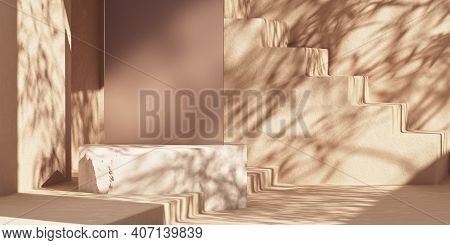 Abstract Cosmetic Background With Stone Podium For Product Advertising. Stone Platform And Dark Glas