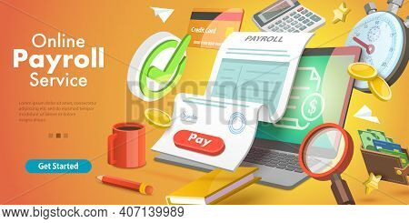 3d Isometric Vector Conceptual Illustration Of Payroll Or Salary Payment.
