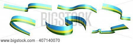Set Of Holiday Ribbons. Flag Of Republic Of Rwanda Waving In Wind. Separation Into Lower And Upper L
