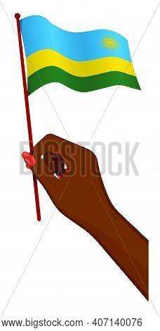 Female Hand Gently Holds Small Flag Of Republic Of Rwanda. Holiday Design Element. Cartoon Vector On
