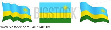 Flag Of Republic Of Rwanda In Static Position And In Motion, Fluttering In Wind In Exact Colors And
