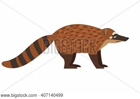 Tailed Exotic Animal. Cartoon Cute Fluffy Character Of Wildlife, Endangered Beast Of Nature, Vector