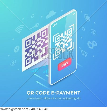 Qr Code E-payment Banner. 3d Scanning Barcode On Smartphone Screen And Icons, Qr Pay Isometric Vecto