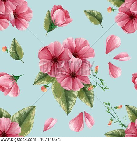 Bouquet Of Pink Flowers With Green Leaf Seamless Pattern. Leaves, Petals, Buds Isolated On Blue Back
