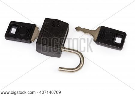 Unlocked Small Traditional Detachable Luggage Lock With Two Keys On A White Background