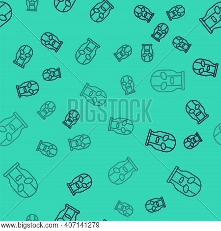 Black Line Mexican Wrestler Icon Isolated Seamless Pattern On Green Background. Vector