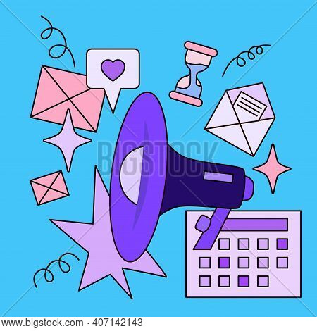 Vector Illustration Of Megaphone And Office Icons On Blue Background. Line Art Design For Web, Site,
