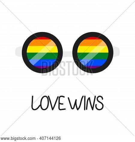 Sunglasses. Eyeglasses. Hand Drawn Glasses, Summer Symbol. Accessory. Flag Lgbt Rainbow Colors. Temp