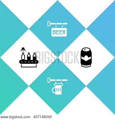 Set Conveyor Band, Beer, Signboard With Glass Of, Street Signboard Beer And Can Icon. Vector