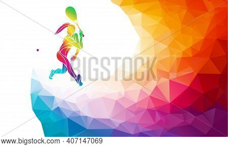 Creative Silhouette Of Squash Player Receiving A Ball. Squash Sport, Colorful Vector Illustration Wi