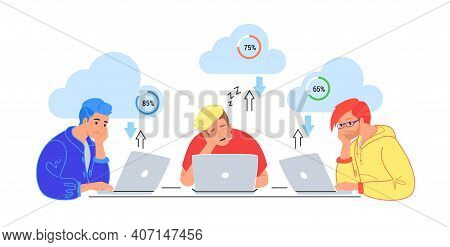 Bored Three Teenagers Sitting With Laptops And Sleeping. Flat Vector Illustration Of Tired Students