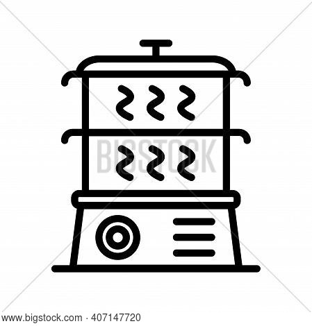 Steamer Outline Icon. Vector Steamer Icons On White Background