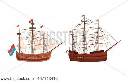 Old Wooden Ships With Sails And Fluttering Flags Vector Set