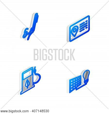 Set Isometric Line Address Book, Signature, Bio Fuel With Fueling Nozzle And Solar Energy Panel And