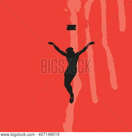Vector Banner On The Theme Of Easter And Good Friday. Abstract Religious Illustration With Black Sil
