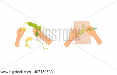 Hands Drawing Tracery With Pencil On Paper And Using Hot Glue Gun As Handmade Craft Vector Set