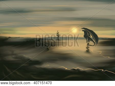 Fantasy Background With A Nature And A Dragon. Foggy Nature.