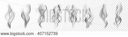 Realistic Cigarette Smoke. Vapor In Air, Steam Flow. Fog, Mist Effect. Vector Illustration.