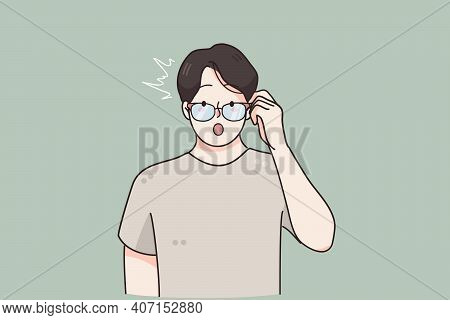 Surprise, Emotions Expression, Frustration Concept. Terrified Young Male Cartoon Character Staring T