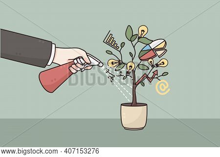Development, Business Growth, Strategy Concept. Hand Of Businessman Watering Pot With Developing Pro