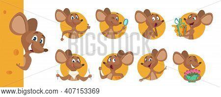Cute Mouse Avatars. Peeking Animal, Happy Hungry Sad Emotional Cartoon Rat Vector Character. Mouse A