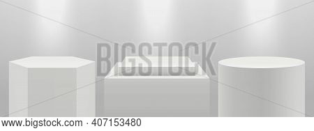 Realistic Podiums. 3d Pedestal In Light, Blank White Expo Stands Vector Set. Illustration Stage Podi