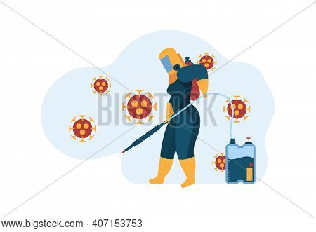 Covid Sanitizing Workers. Safety Concept Professional Cleaning Service Worker Standing In Uniform Ma