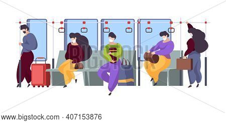 Public Transport Interior. People Masked Distance Sitting In Subway Or Bus Modern Inside Train Tired