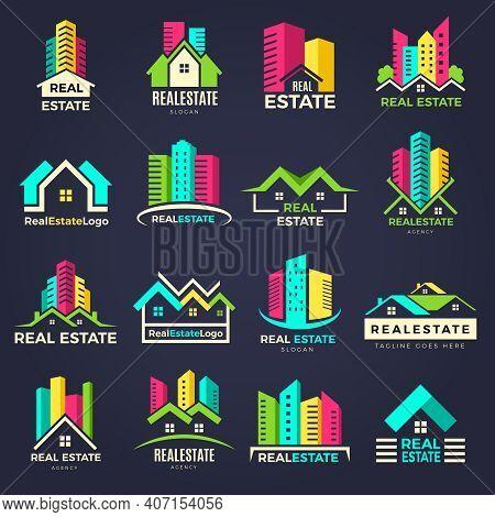 Real Estate Badges. Business Construction Logo Houses Elegant Symbols Recent Vector Illustrations. B