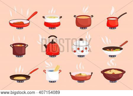 Cooking Food. Boiling In Kitchen Pan On Gas Stove Cookware Processes Egg And Soup Preparing Nowaday