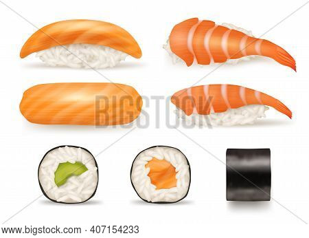 Sushi Realistic. Different Japanese Food From Fish Sushi Seaweed Rolls Delicious Products From Asian