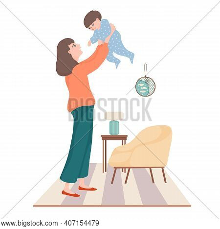 Young Beautiful Woman, Mother Holding Baby Boy In Raised Hands, Playing With Her Little Kid In The L