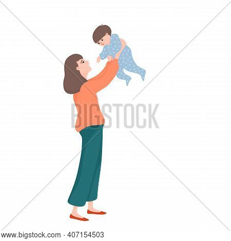 Young Beautiful Woman, Mother Holding Baby Boy In Raised Hands, Playing With Her Little Kid, Flat Ca