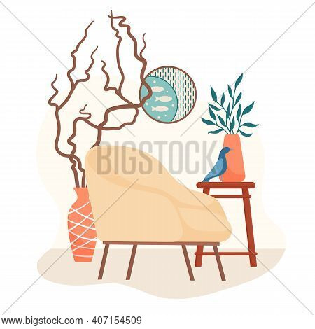 Scandinavian Interior Design With Retro Style Armchair, Side Table, Houseplant, Round Picture, Bird