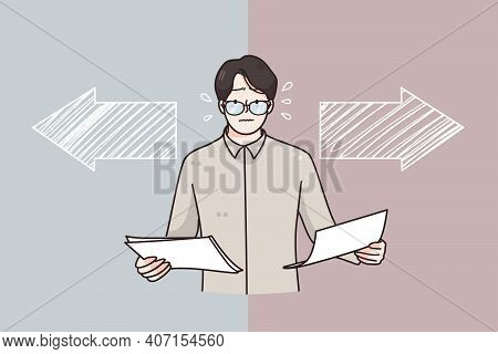 Choice, Business Decision, Different Ways Concept. Frustrated Businessman In Glasses Holding Documen