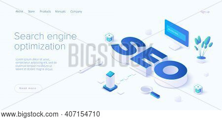 Seo Development Isometric Vector Illustration. Website Or Webpage Development Concept. Search Engine