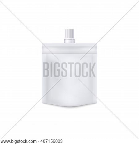 Template Of Blank White Doypack With Cap Realistic Vector Illustration Isolated.