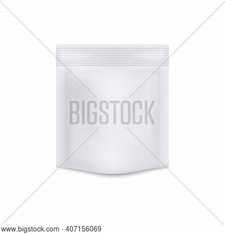 Blank White Food Foil Doypack, Realistic Mockup Vector Illustration Isolated.
