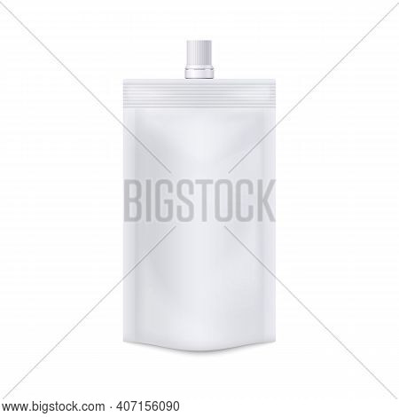Template Of Food Doypack Blank Bag 3d Vector Illustration Isolated On White.