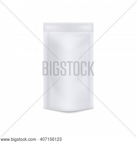 Mockup Of Food White Blank Doypack, Realistic 3d Vector Illustration Isolated.