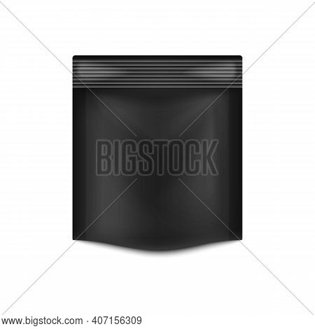 Black Stand Up Pouch Pack, Realistic Plastic Packaging Bag Mockup