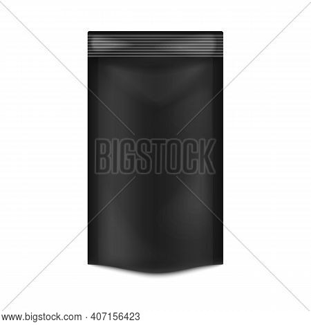 Doypack - Black Foodstuffs Pouch From Foil Or Plastic A Vector 3d Illustration