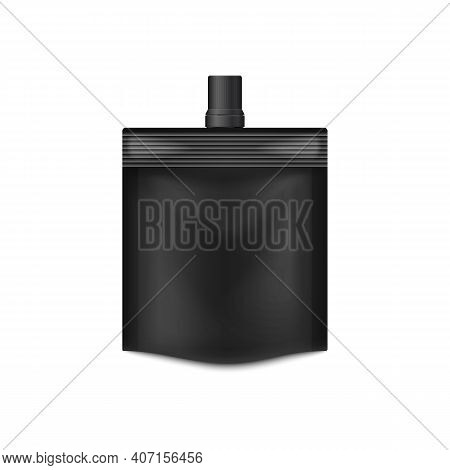 Doypack Black Vacuum Packaging Foil Pouch With Lid On Top A Vector Illustration.