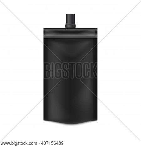 Template Of Black Doypack With Screw Spout Lid 3d Vector Illustration Isolated.