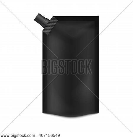 Blank Black Food Doypack Realistic Mockup Vector Illustration Isolated.