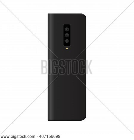 Flexible Foldable Phone With Shut Screen, Realistic Vector Illustration Isolated.