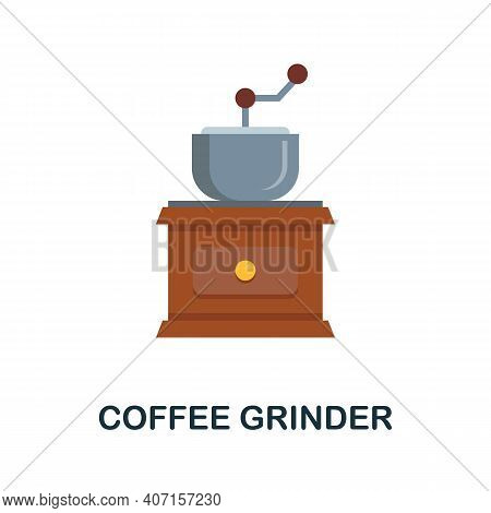Coffee Grinder Flat Icon. Color Simple Element From Coffee Collection. Creative Coffee Grinder Icon