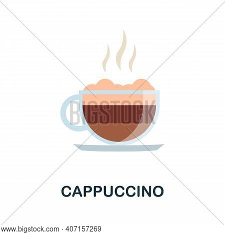 Cappuccino Flat Icon. Color Simple Element From Coffee Collection. Creative Cappuccino Icon For Web