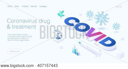 Virus Vaccination In Isometric Vector Design. Flu Or Coronavirus Research. Medical Covid Antidote Or