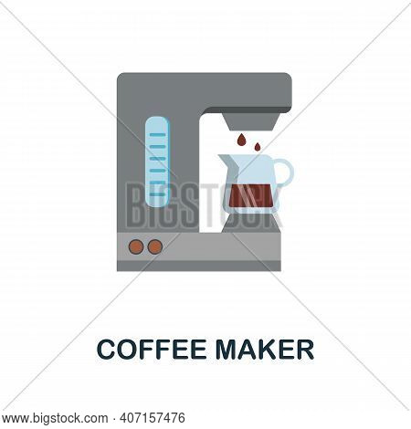 Coffee Maker Flat Icon. Color Simple Element From Coffee Collection. Creative Coffee Maker Icon For